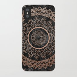 Mandala - rose gold and black marble iPhone Case