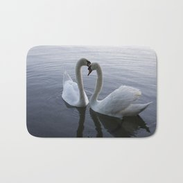 Romatic Swan Couple Bath Mat