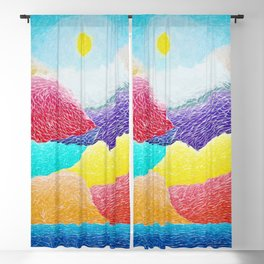 The Creation Of The Mountains by God in Jewel Tones landscape painting by Ariel Chavarro Avila Blackout Curtain