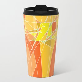 Abstract geometric orange pattern, vector illustration Travel Mug