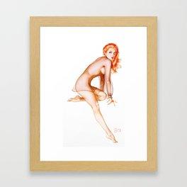 Vintage Pinup girl - Babydoll Framed Art Print
