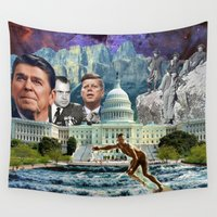 usa Wall Tapestries featuring USA by TRASH RIOT