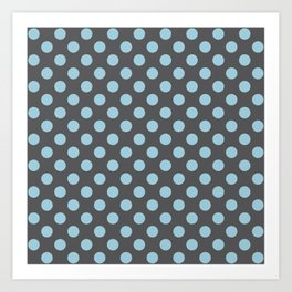Large Polka Dots in Light Blue on Charcoal Gray Art Print