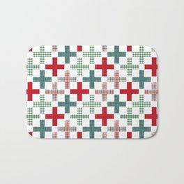 Swiss cross christmas minimal pattern red and green holiday festive pattern gifts Bath Mat