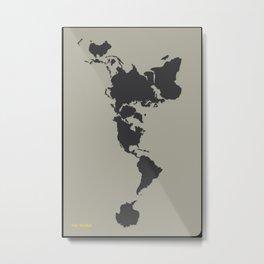 Dymaxion Map - Greys Metal Print