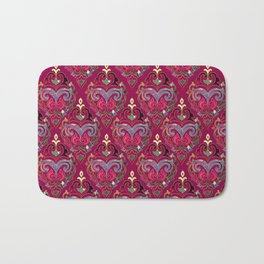 Persian Floral pattern  with painted texture and gold Bath Mat