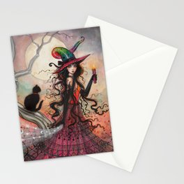 October Flame Halloween Witch and Black Cat Illustration Stationery Cards
