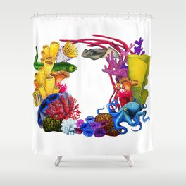 Coral Wreath Shower Curtain