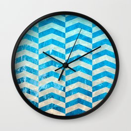 Aquatic Gradient -Wide Cevrons Wall Clock