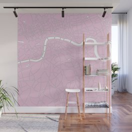 London Pink on White Street Map Wall Mural