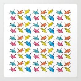 Colourfull paper cranes Art Print