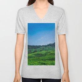Tea Fields Landscape Unisex V-Neck