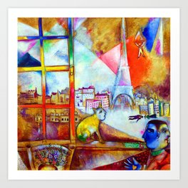 'Paris Through the Window - Eiffel Tower, Seine, & Left Bank' by Marc Chagall Art Print