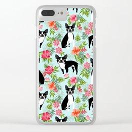 Boston Terrier florals tropical hawaiian print dog breeds custom dog art pet portraits Clear iPhone Case