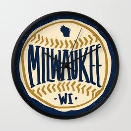 Milwaukee Wisconsin Hand Drawn Script Design Wall Clock