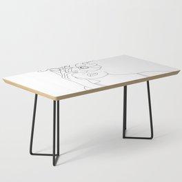 Minimal Line Art Woman with Flowers II Coffee Table