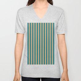 Laguna Blue and Mango Stripes Unisex V-Neck