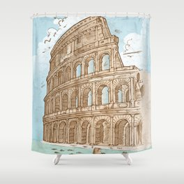 colosseum color hand draw background Shower Curtain