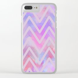 Geometrical pink teal lilac watercolor chevron Clear iPhone Case