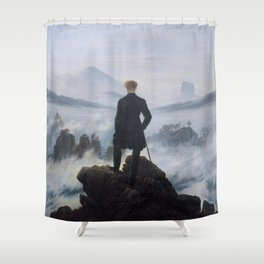 Wanderer above the Sea of Fog Painting by Caspar David Friedrich Shower Curtain