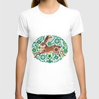 hare T-shirts featuring RUNNING HARE by Riku Ounaslehto