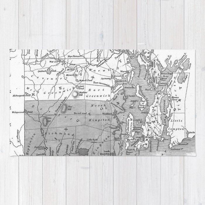 Vintage Map of Rhode Island (1827) BW Rug