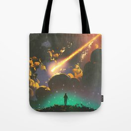 Fantasy Illustration Graphic Design Anime Japanese Inspired World Meteor Passing In Glowing Sky Tote Bag