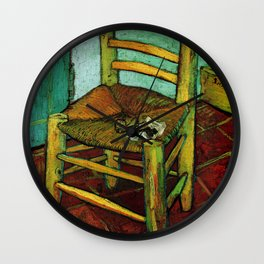 Van Gogh, Van Gogh's Chair – Van Gogh,Vincent Van Gogh,impressionist,post-impressionism,brushwork,pa Wall Clock