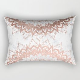 Modern chic rose gold floral mandala illustration on trendy white marble Rectangular Pillow