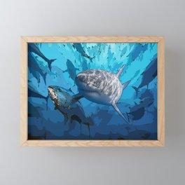 Blue shark under ocean  Framed Mini Art Print