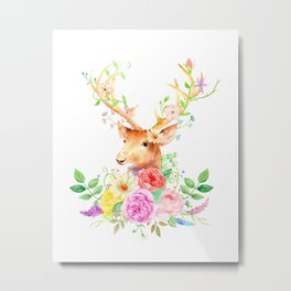 Watercolor Deer and Rose Bouquet Metal Print