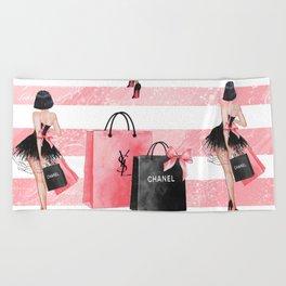 Fashion girl shopping Beach Towel
