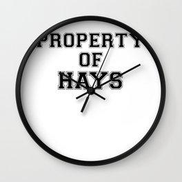 Property of HAYS Wall Clock