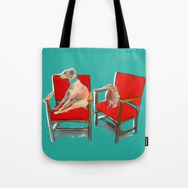 animals in chairs #14 The Greyhound and the Hare Tote Bag