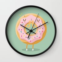 donut Wall Clocks featuring Donut by Maria Jose Da Luz