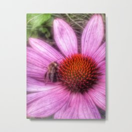 Flower Bee Metal Print