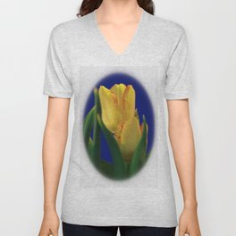 Beautiful Yellow Tulips in White  Frame Unisex V-Neck
