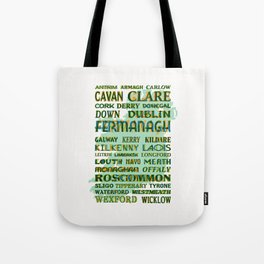 32 Counties Of Ireland Tote Bag