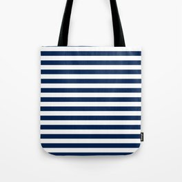 Slate blue and White Thin Stripes - Navy Nautical Pattern Tote Bag