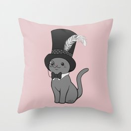 Grey Cat Wears Plumed Top Hat Throw Pillow