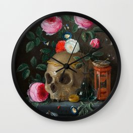Skull with Crown and Flowers Still Life Wall Clock