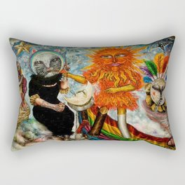 Gatos Malos, or Bad Kitties, portrait surrealist mural painting by A. Colunga Rectangular Pillow