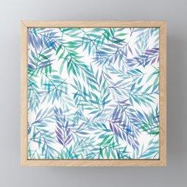 Watercolour Ferns   Original Blue Green Framed Mini Art Print