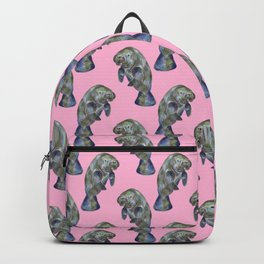 Pink Watercolor Manatee Pattern Backpack