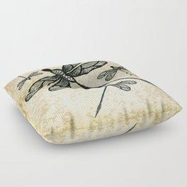 Dragonflies on tan texture Floor Pillow
