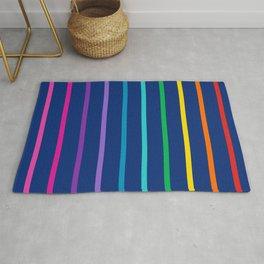 Rainbow stripe on navy Rug