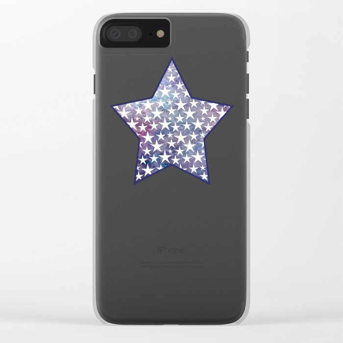 White stars on bold grunge blue background Clear iPhone Case