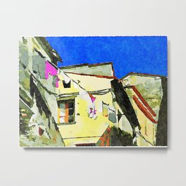Foreshortening old town with clothes hanging Metal Print