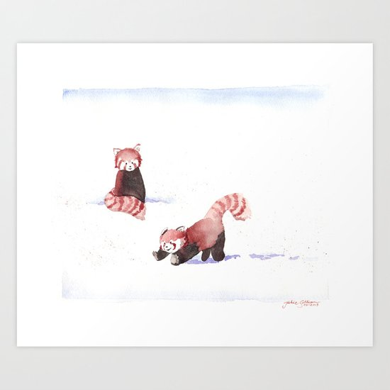 Red Pandas in the Snow Art Print