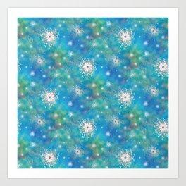 Blues Rainbow Florals Art Print